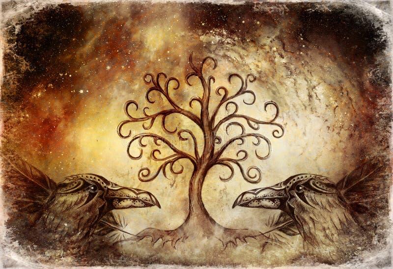 Paar raven met boom van het levenssymbool royalty-vrije illustratie
