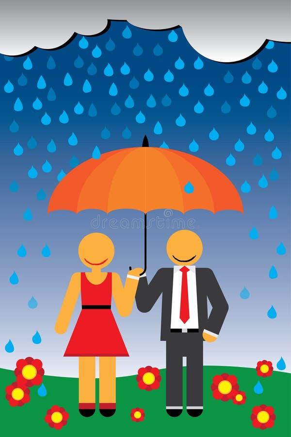 Paar in regen royalty-vrije illustratie