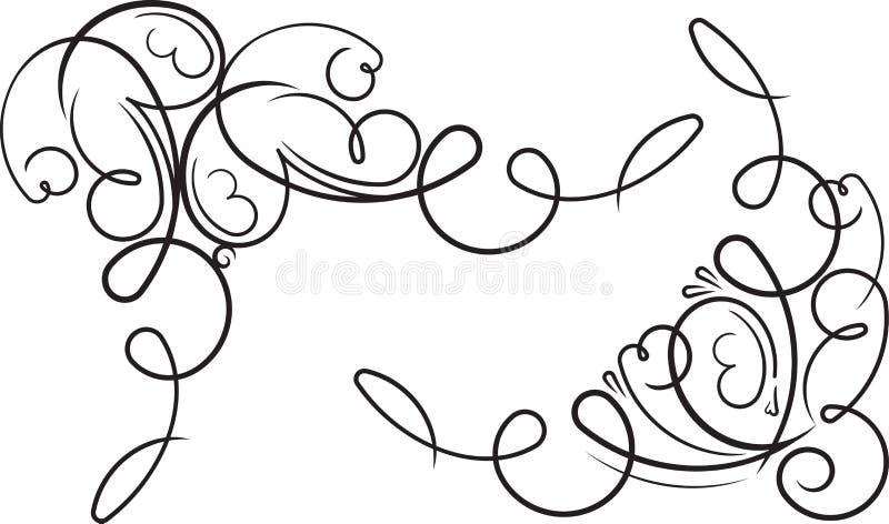 Paar sier decoratieve bloemenhoeken Vector Illustratio royalty-vrije illustratie