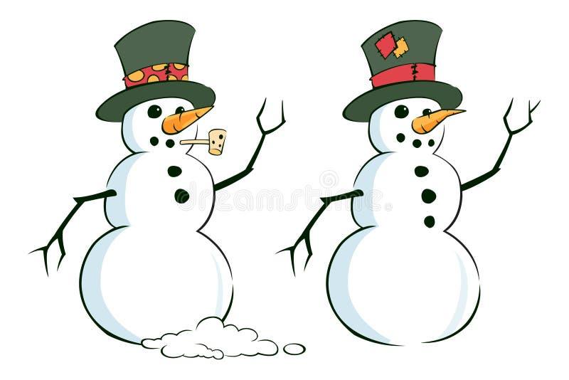 Paar Sneeuwmannen stock illustratie