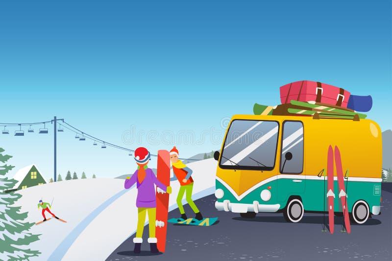 Paar-Snowboarding an einem Winterurlaubsort stock abbildung