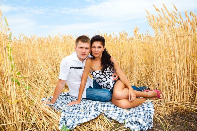Paar in tarwe stock afbeeldingen