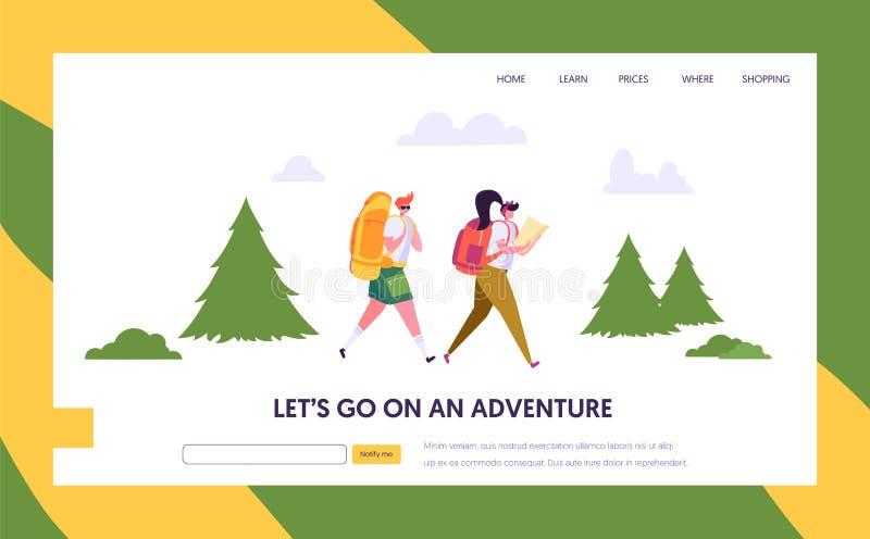 Paar-touristischer Charakter mit Rucksack gehen, auf Weg in Forest Landing Page zu wandern Natur-Sommer-Park-Kampieren im Freien stock abbildung