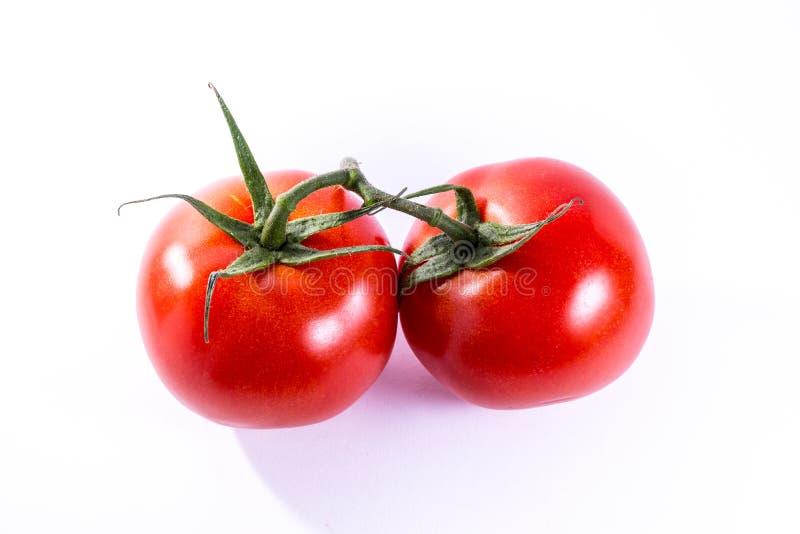 Paar Twee Tomaten Verbonden Stammen Verse Groenten die Ing koken royalty-vrije stock afbeelding