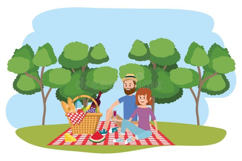 Paar- und Picknickkarikaturen vektor abbildung