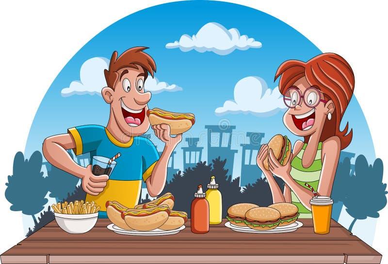Paar van beeldverhaalmensen die ongezonde kost eten stock illustratie