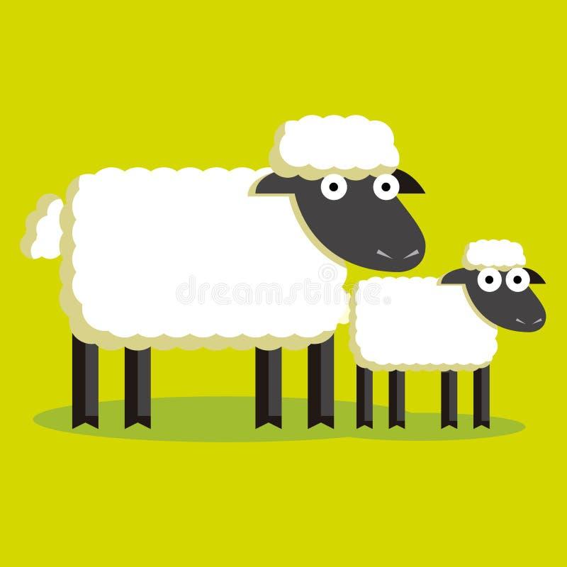 Download Paar Van Beeldverhaalschapen En Lam Met Kleur Stock Illustratie - Illustratie bestaande uit grafisch, baby: 39104336