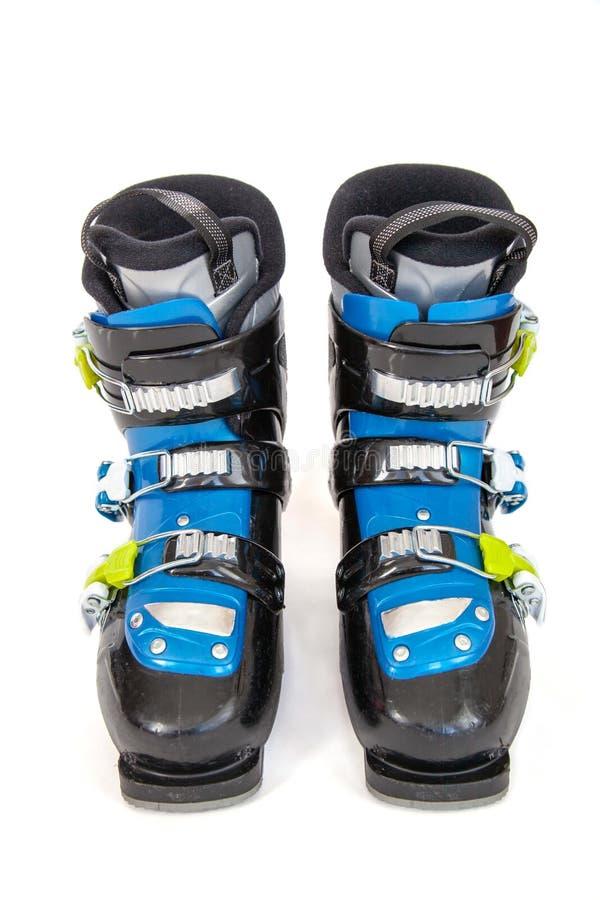 Paar van Blauw en Zwart Ski Boots Isolated op Witte Achtergrond royalty-vrije stock fotografie