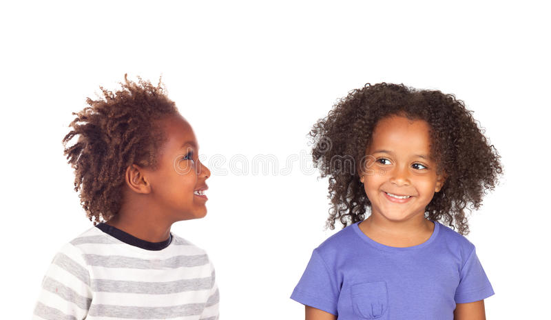 Paar van de Amerikaanse kinderen van Afro stock foto's