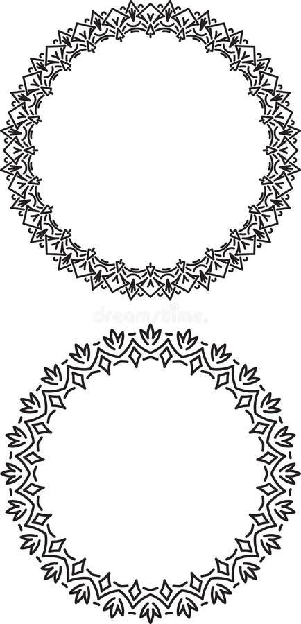 Paar van decoratief, ongebruikelijk, rond kader met lege plaats voor yo royalty-vrije illustratie