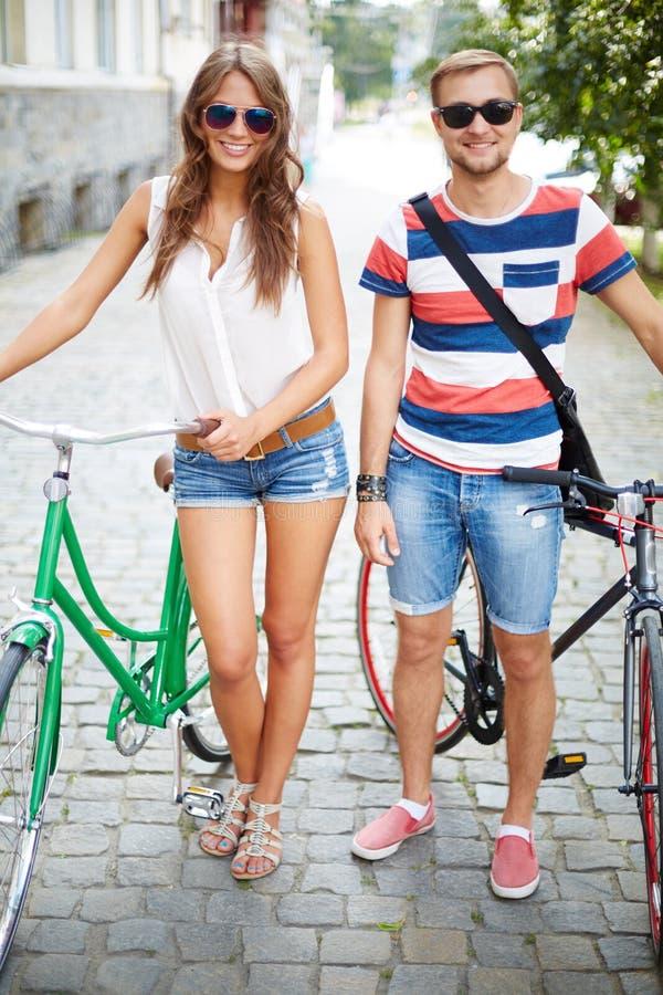 Paar van fietsers royalty-vrije stock foto