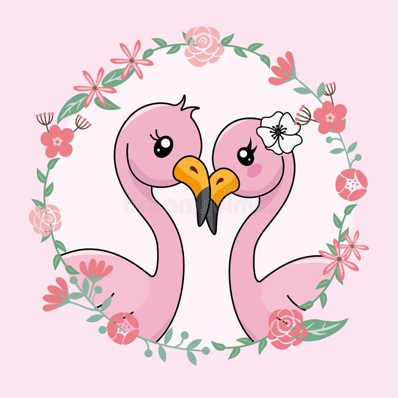 Paar van flamingo's in liefde binnen bloemkader stock illustratie