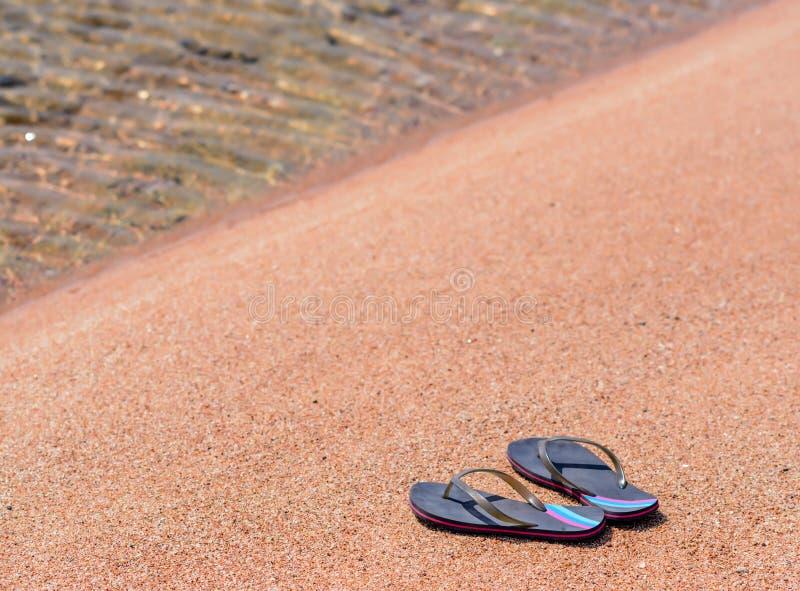 Paar van Flip Flops bij Oever van Sandy Beach stock foto's
