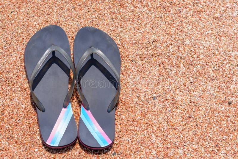 Paar van Flip Flops op Sandy Beach Shore stock afbeeldingen