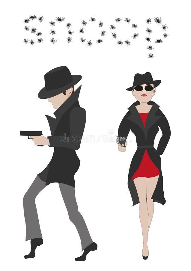 Paar van geheimagenten royalty-vrije illustratie