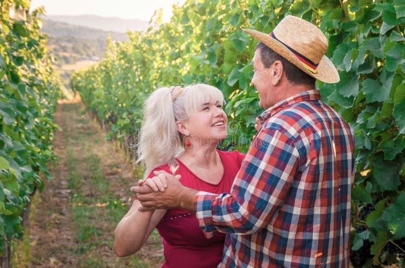 Paar van gelukkige mensen op een romantische datum in de wijngaard royalty-vrije stock fotografie