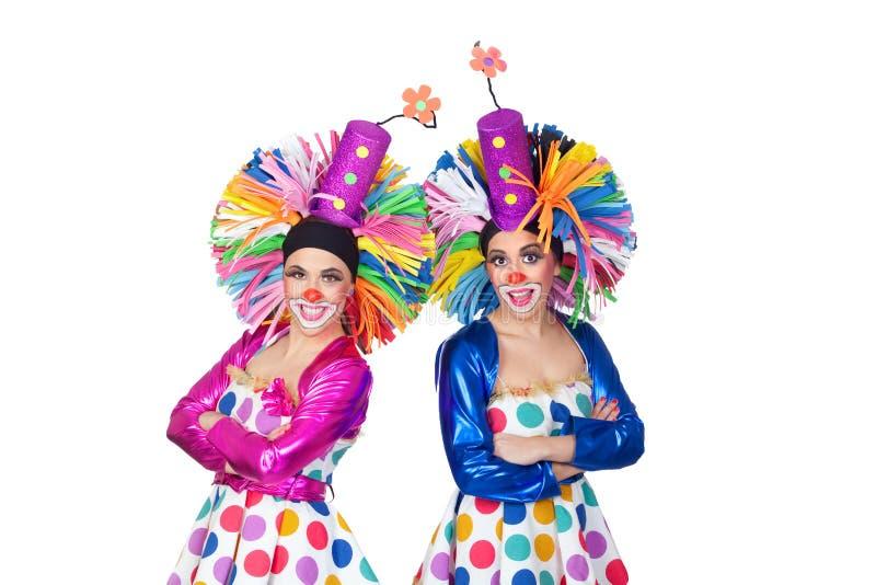 Paar van grappige clowns met grote kleurrijke pruiken royalty-vrije stock afbeeldingen