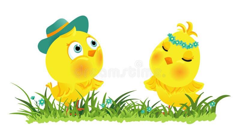 Paar van grappige Pasen-kippen royalty-vrije illustratie