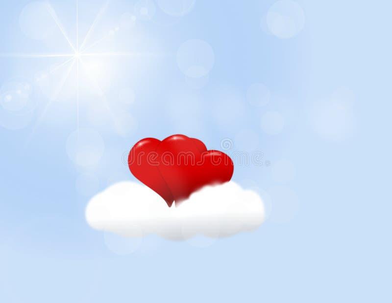 Paar van harten op een wolk voor geïsoleerde de Dag van Valentine royalty-vrije illustratie