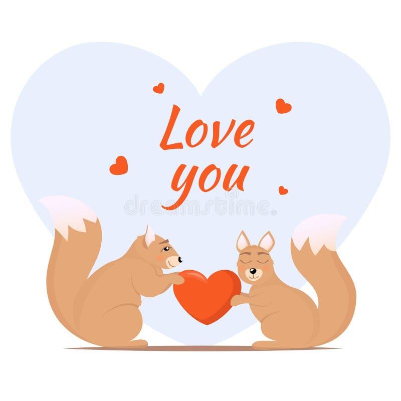 Paar van het houden van van eekhoorns ??n eekhoorn geeft een andere een hart Leuke dieren in liefde De kaartontwerp van het liefd stock illustratie