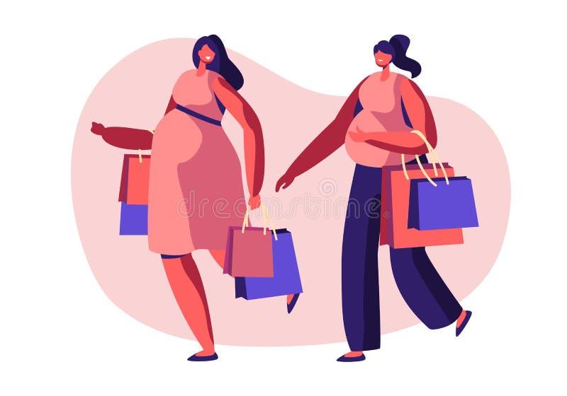 Paar van het Mooie Jonge Zwangere Vrouwen Gaande Winkelen Meisjes die Babysvrije tijd, Vrije tijd, Samenkomende Vrienden verwacht vector illustratie