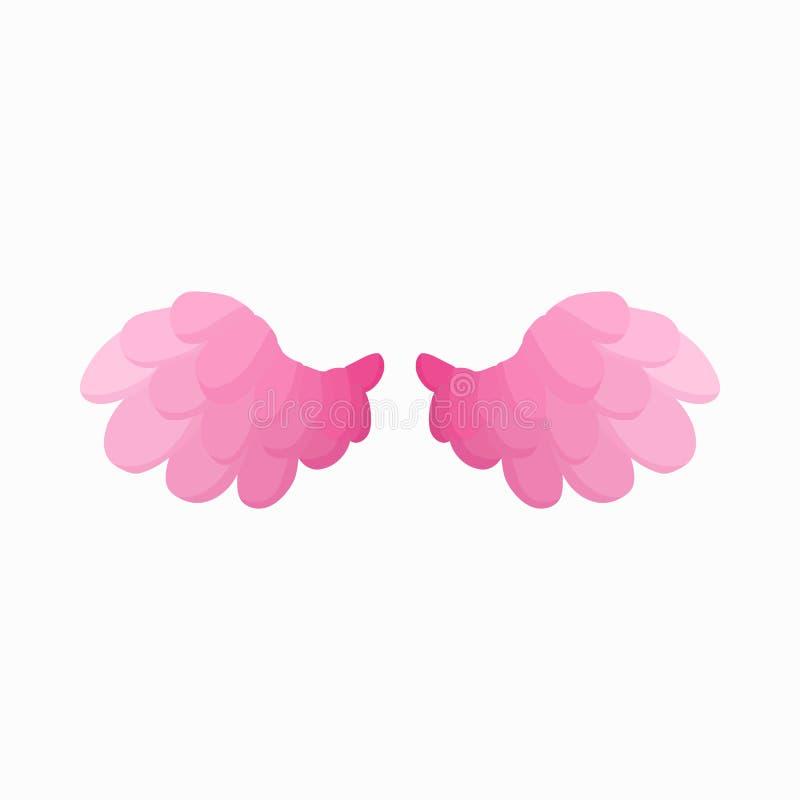 Paar van het roze pictogram van vogelvleugels, beeldverhaalstijl stock illustratie