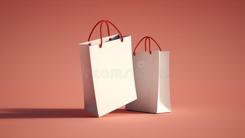 Paar van het winkelen zakkenrood stock illustratie