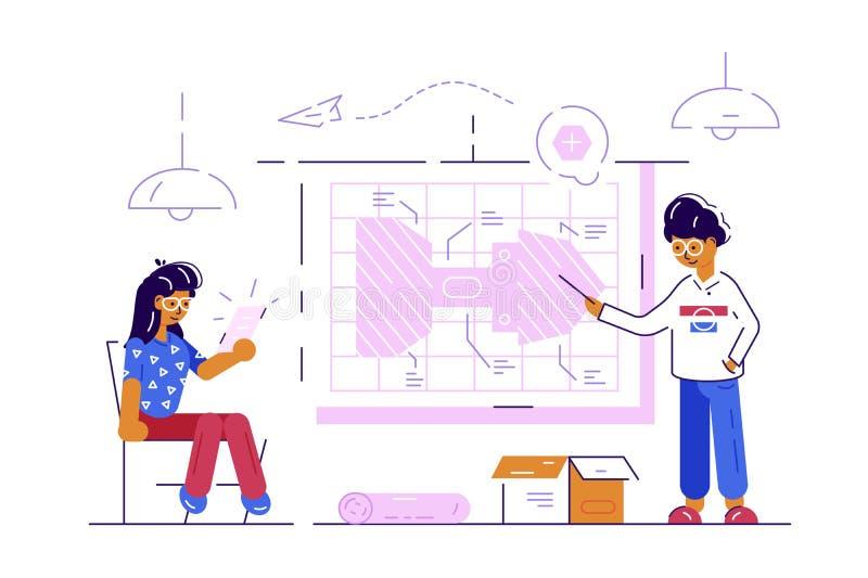 Paar van ingenieursarbeiders royalty-vrije illustratie
