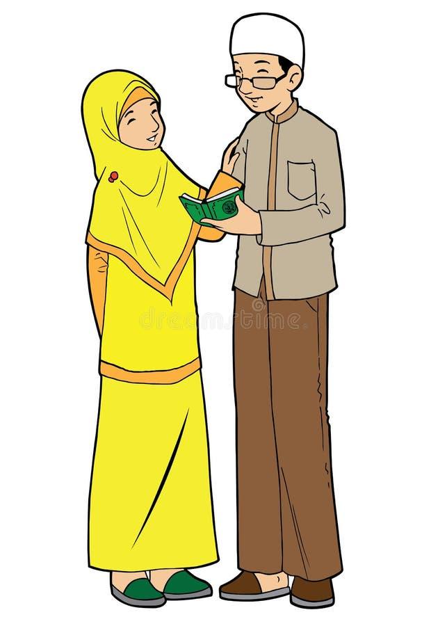 Paar van jonge Aziatische moslim stock illustratie