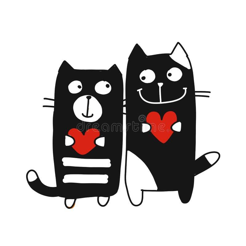 Paar van kat, schets voor uw ontwerp vector illustratie