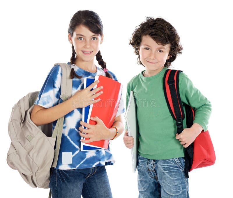 Paar van kinderenstudenten royalty-vrije stock foto's