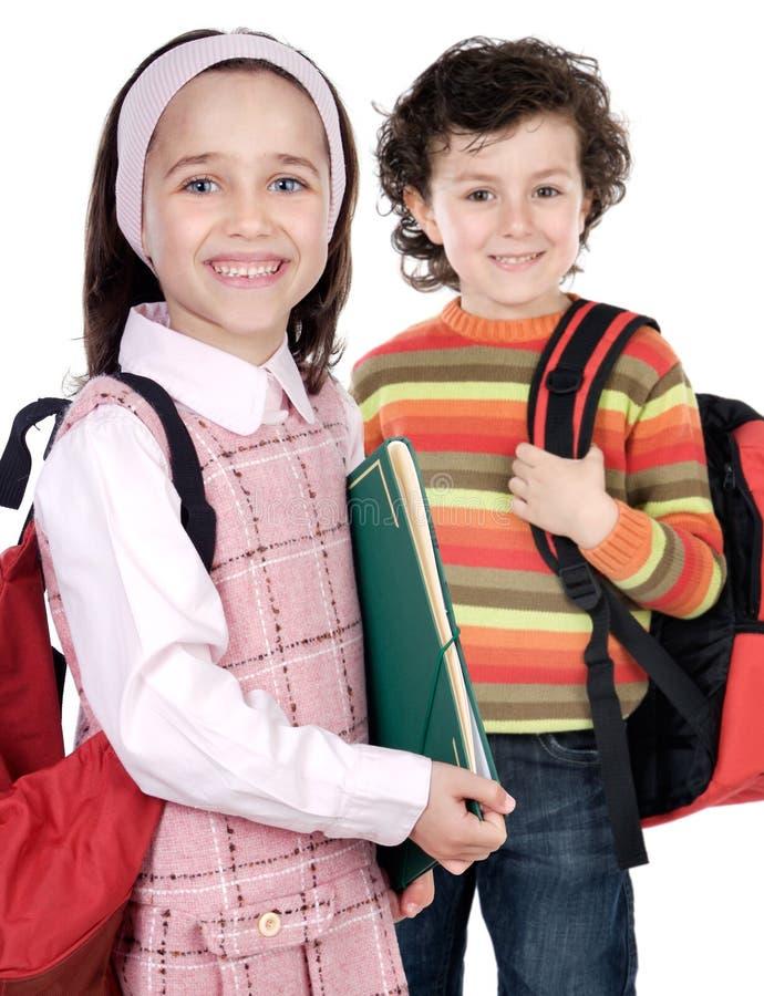 Paar van kinderenstudenten stock afbeeldingen