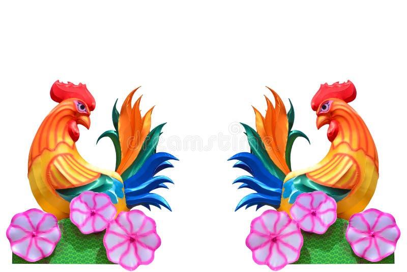 Paar van kleurrijke maandie de lantaarnstekens van stoffenkippen van de dierenriem op witte achtergrond wordt geïsoleerd stock afbeelding