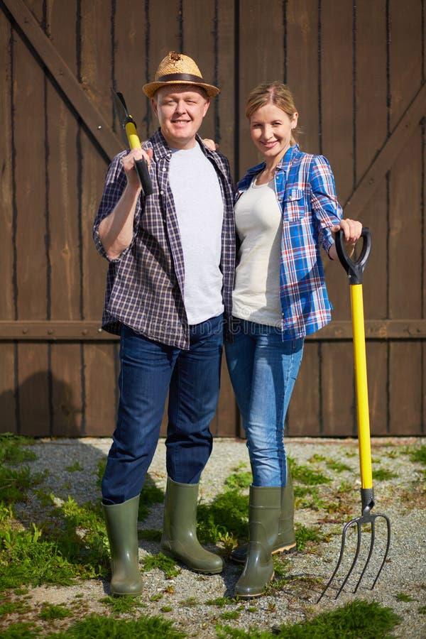 Paar van landbouwers stock foto