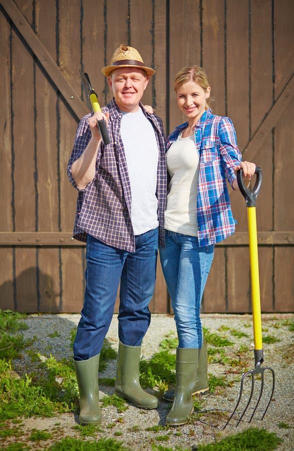 Paar van landbouwers royalty-vrije stock foto's