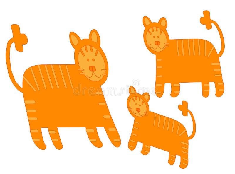 Paar van leeuwen en weinig leo vector illustratie