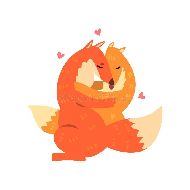 Paar van leuke rode vossen in liefde die elkaar, twee gelukkige aniimals omhelzen die met harten over hun hoofdvecto koesteren vector illustratie