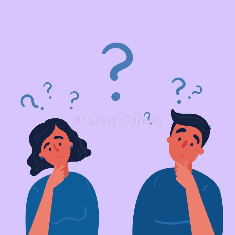 Paar van mens en vrouw die vraagtekens de hebben royalty-vrije illustratie