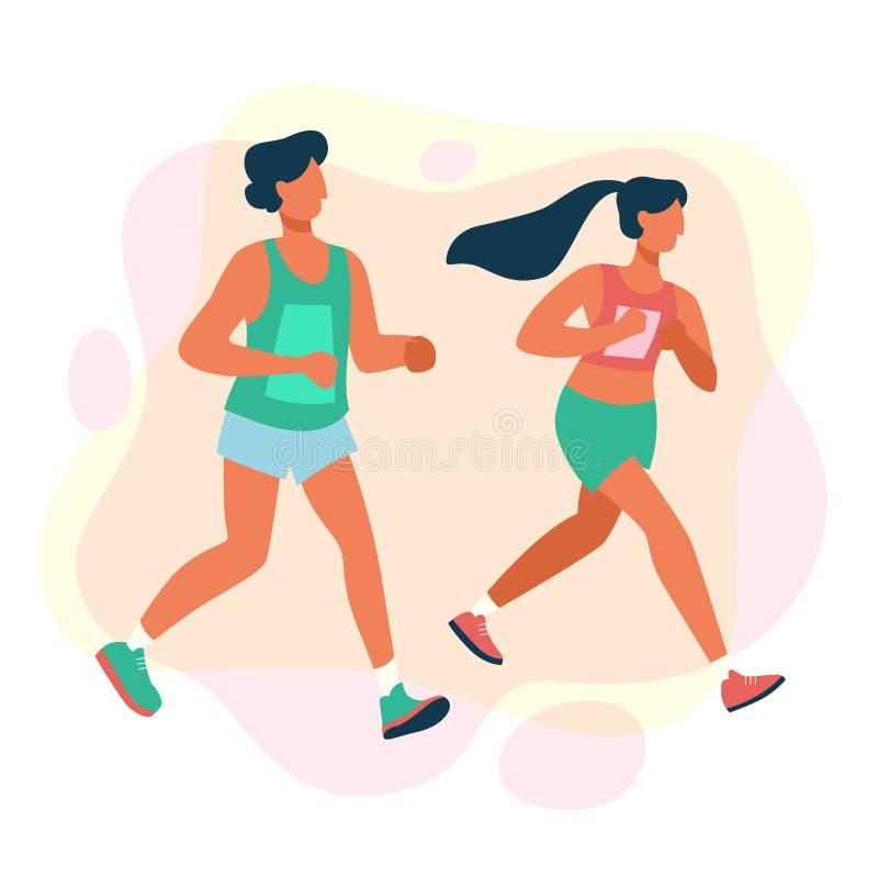 Paar van mensen op marathon De rasconcurrentie over lange afstand stock illustratie