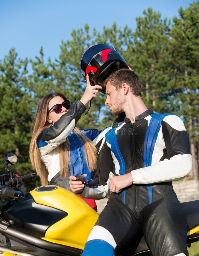 Paar van motorrijders royalty-vrije stock afbeelding