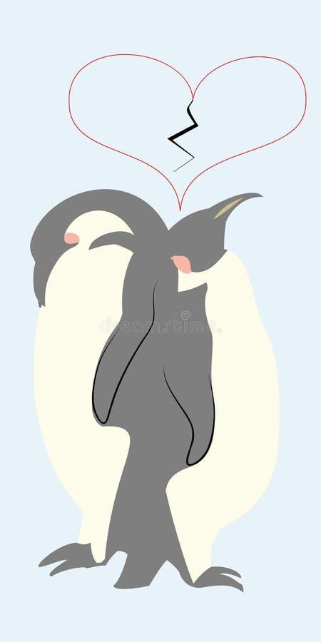 Paar van pinguïnen en gebroken hart hierboven royalty-vrije illustratie