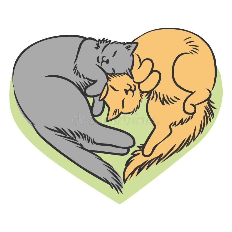 Paar van pluizige katten stock illustratie
