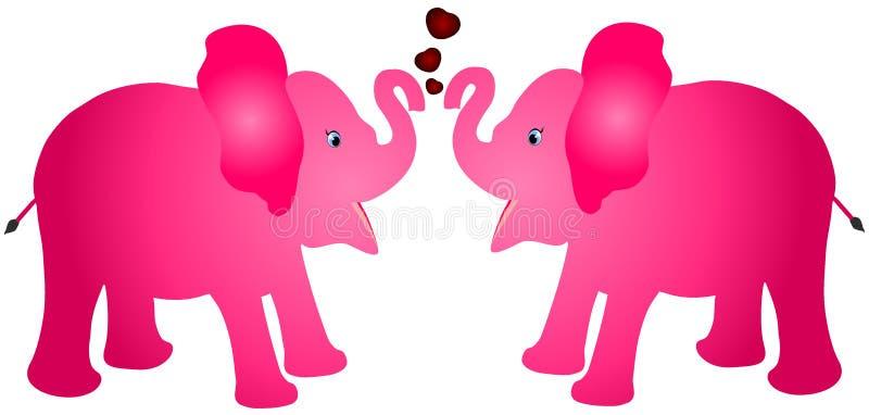 Paar van roze van de het kalfsbaby van de kleurenolifant het beeldverhaal vectorillustratie met rode harten tegen witte achtergro vector illustratie