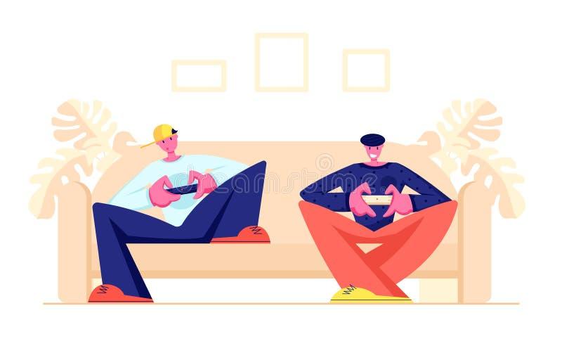 Paar van Tieners die op Sofa Playing Computer Games in Playstation-Gokkenconsole zitten Vrije tijd, Verslaving, Virtuele Vrije ti vector illustratie