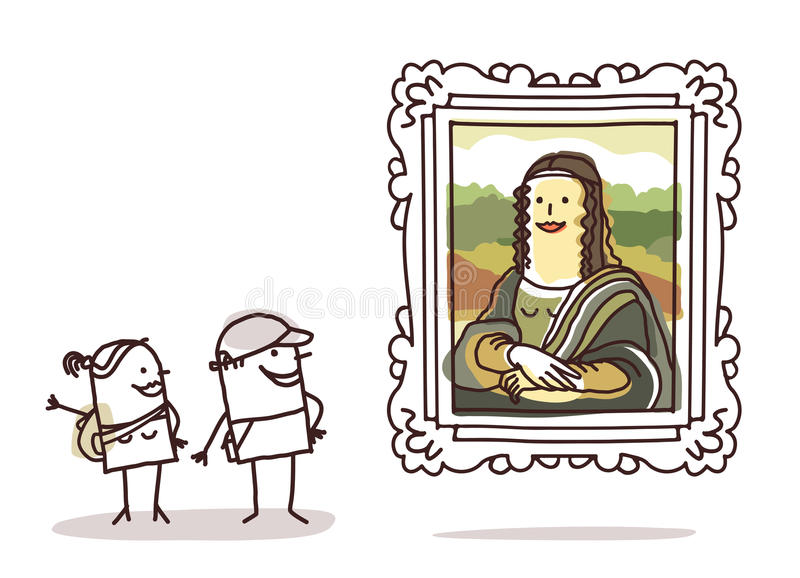 Paar van toeristen die op Mona Lisa letten stock illustratie