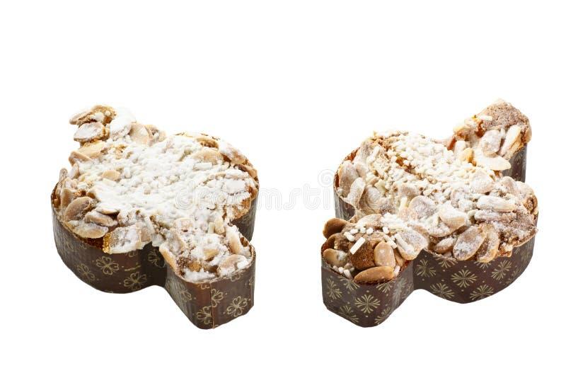 Paar van traditionele Italiaanse Pasen-cake in vorm van een duif royalty-vrije stock foto's