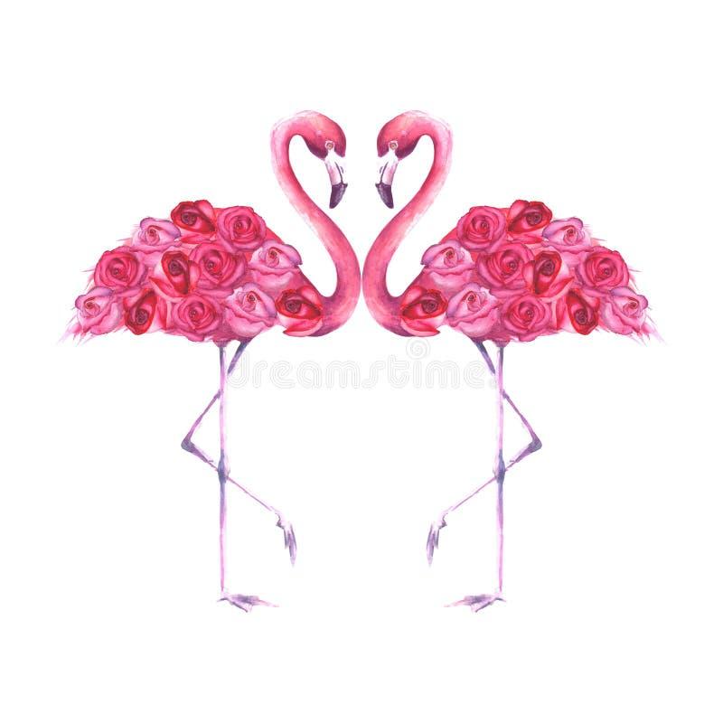 Paar van tropische exotische roze flamingo's stock illustratie