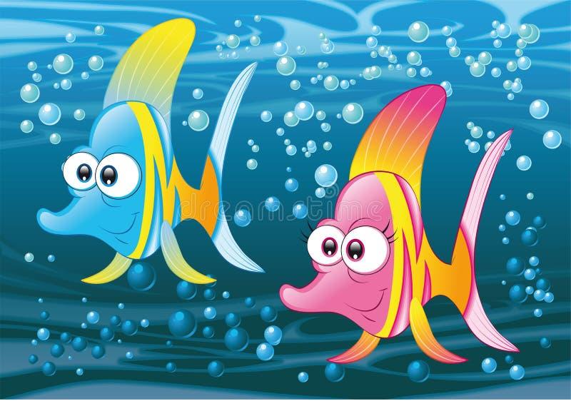 Paar van vissen in de oceaan royalty-vrije illustratie