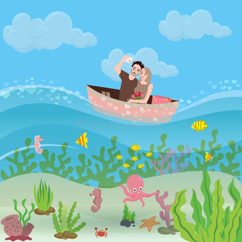 Paar van vriend en meisje berijdende kleine boot Selfiemensen die van vakantie genieten en ogenblikken delen Onder water stock illustratie