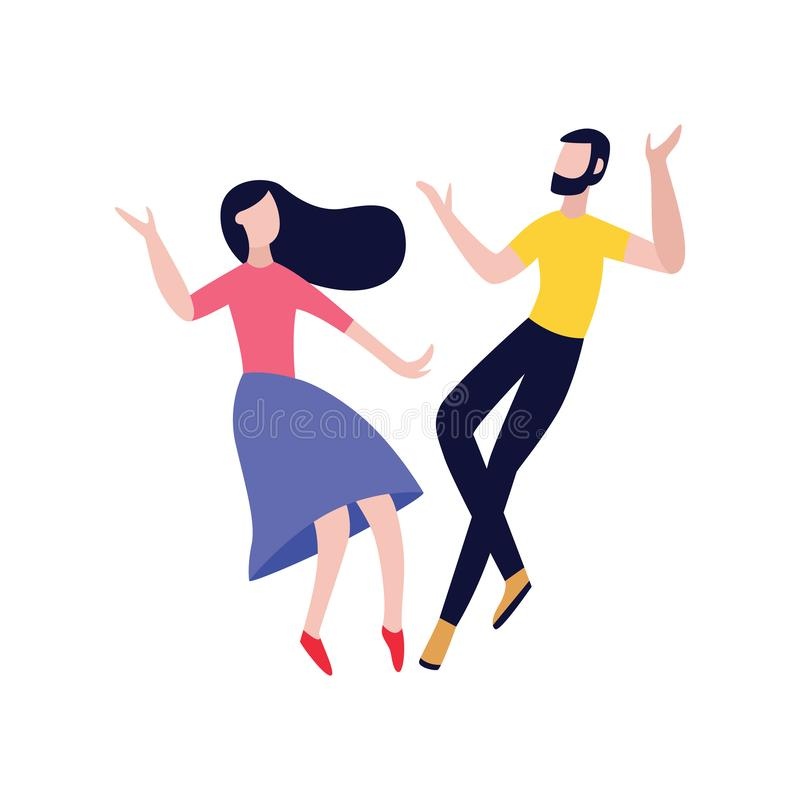Paar van vrienden dansende vlakke vectordieillustratie op witte achtergrond wordt geïsoleerd stock illustratie